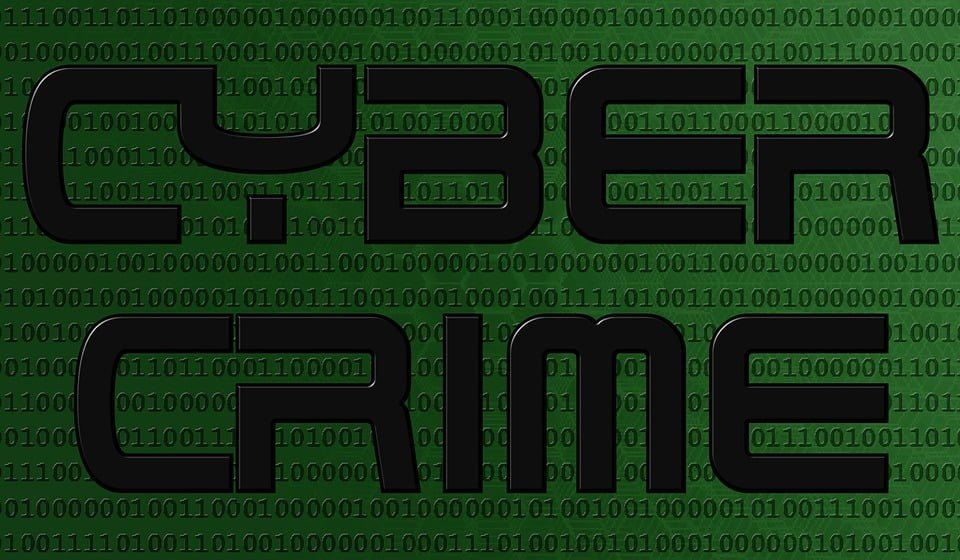 Green 1&0s with Cyber Crime in bold font
